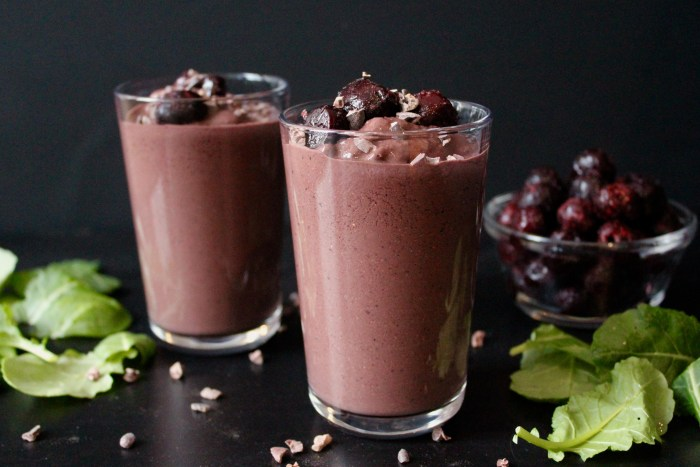 This Dark Chocolate Cherry Protein Shake has over 20 grams of protein without any protein powder!
