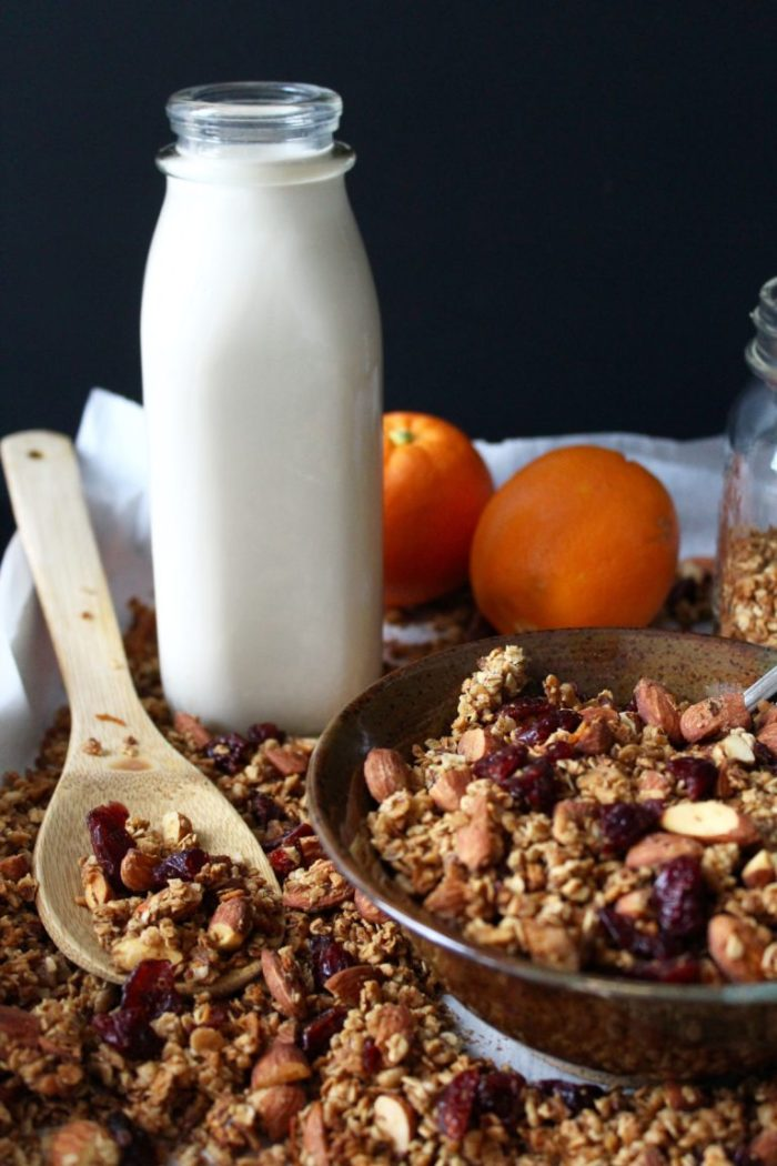 Orange Cranberry Granola, naturally sweetened with orange juice and honey!