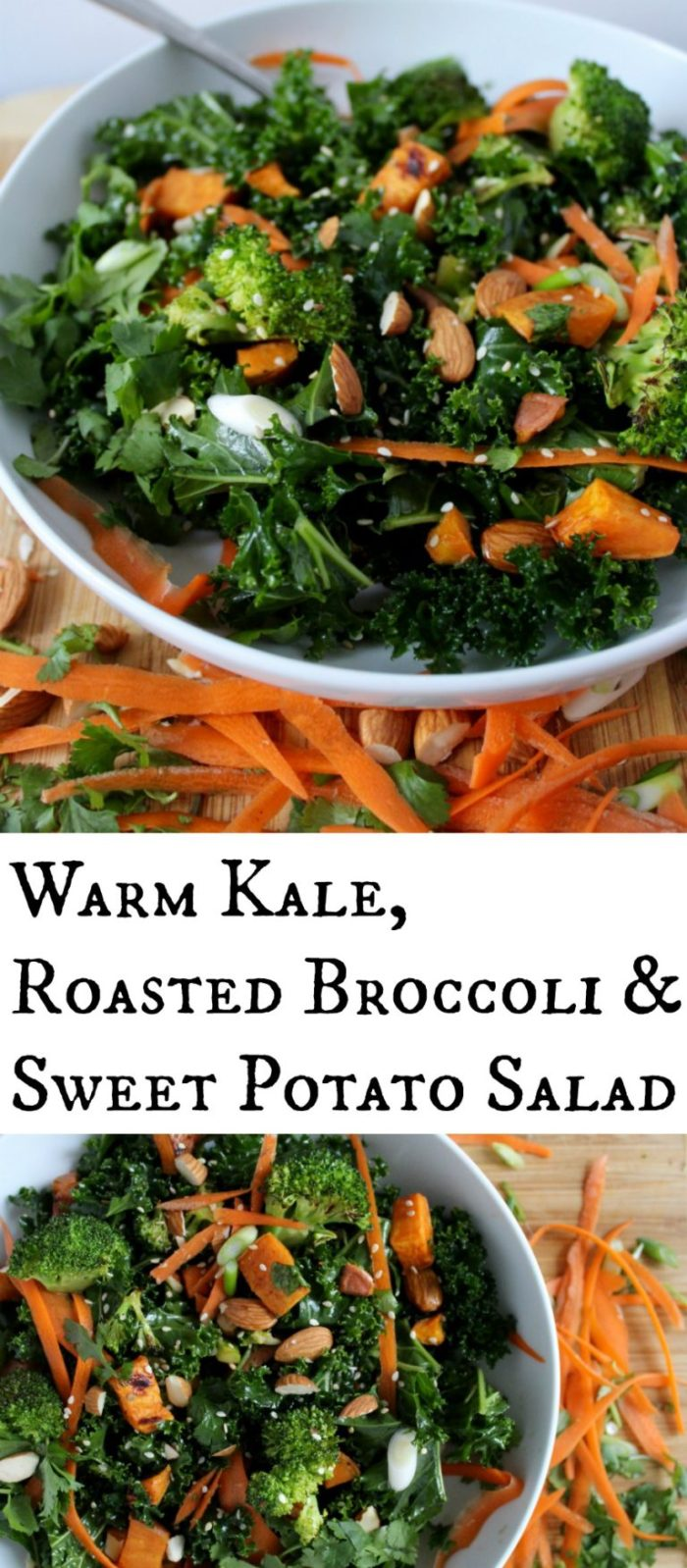 Warm Kale, Roasted Broccoli and Sweet Potato Salad with Sesame Vinaigrette. So good and healthy!!