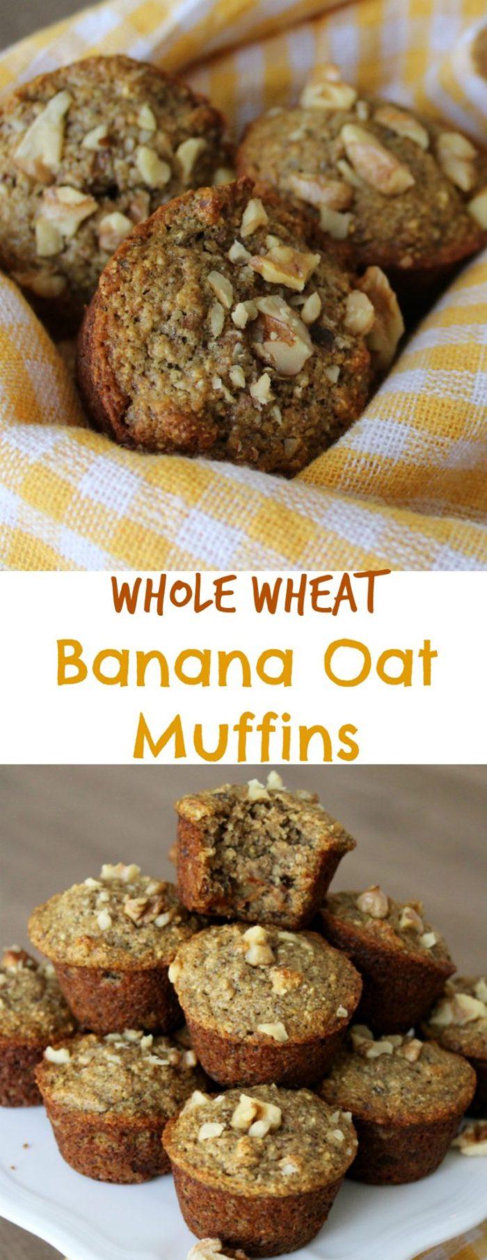 Vegan Whole Wheat Banana Oat Muffins