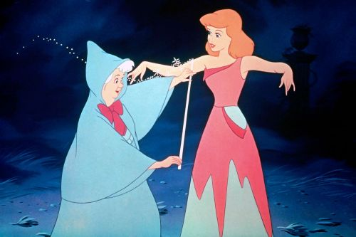 Fairy Godmother measuring Cinderella with measuring tape
