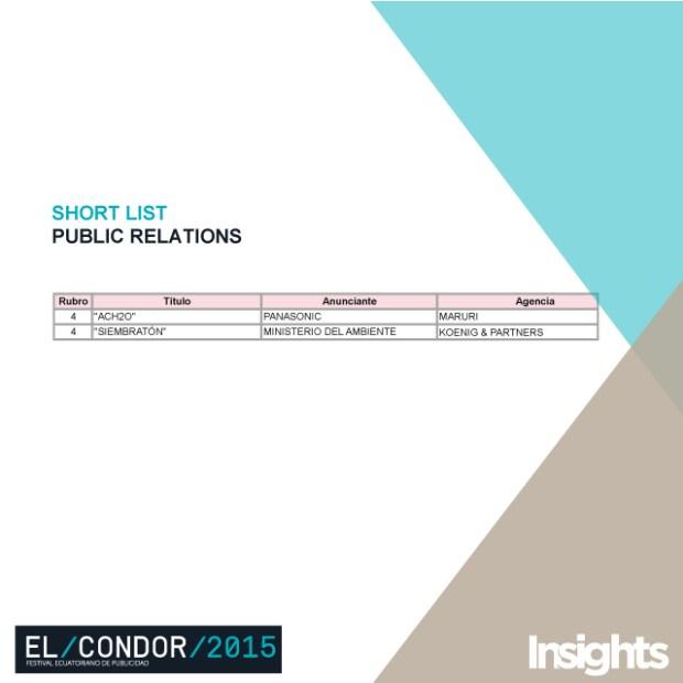 shortlist PR Cóndor 2015
