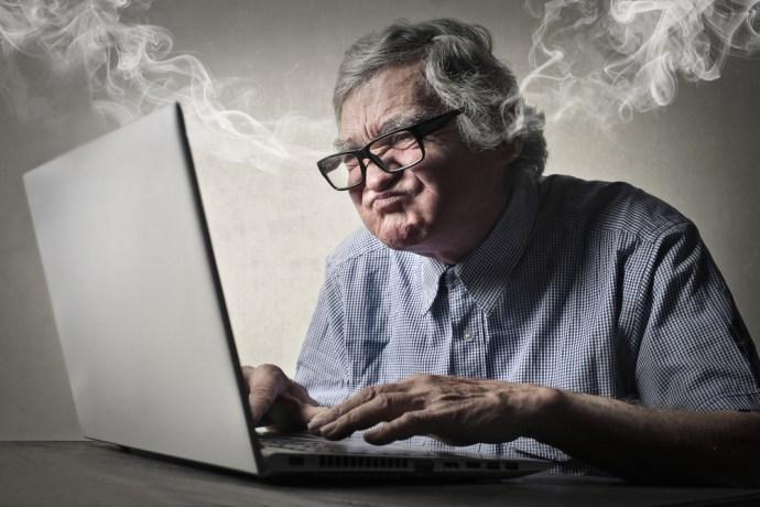 Man angry at his computer