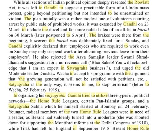 Gandhiji rowlatt act home rule
