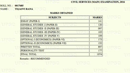 Tejasvi Rana Rank 12 Marks CSE 2016 IAS