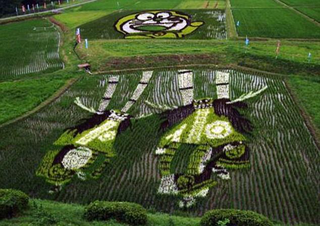 Doraemon and deer dancers (shishi-odori), location unknown