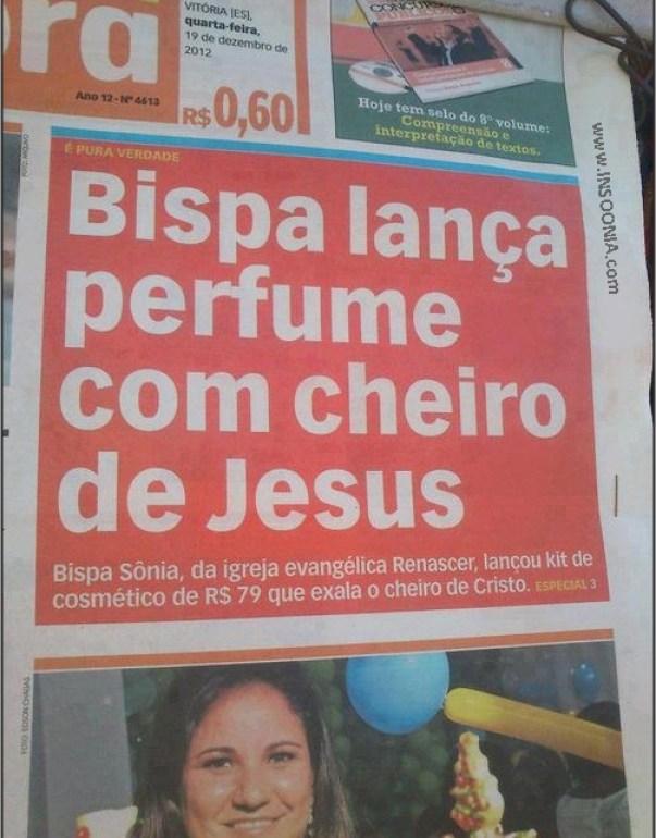 bispa lança perfume com cheiro de jesus