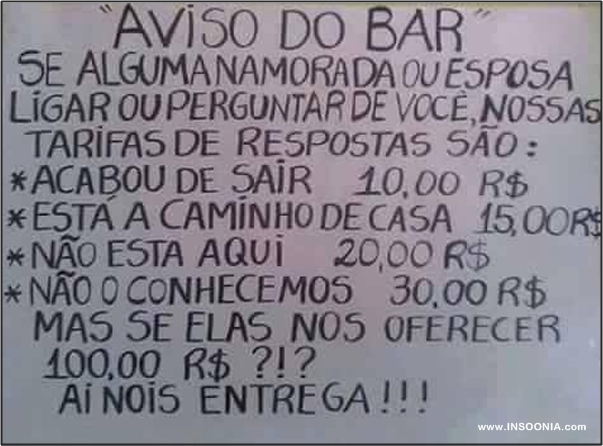 aviso do bar
