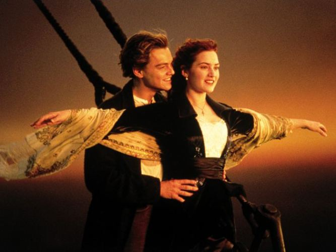 """In this image released by Paramount Home Entertainment, Kate Winslet and Leonardo DiCaprio are shown in a scene from, """"Titanic."""" (AP Photo/Paramount Pictures) ** NO SALES **"""