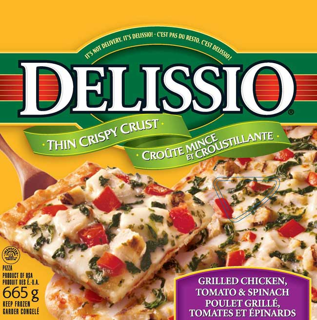 Delissio brand Grilled Chicken, Tomato & Spinch pizza