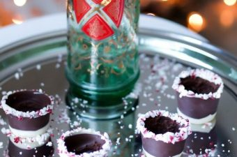DIY Chocolate Shot Glasses with  a Candy Cane Crunch
