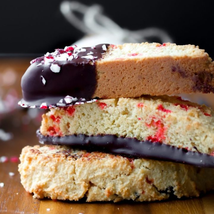 Peppermint Stick Biscotti with Chocolate Chunks {Gluten Free, Low Carb}