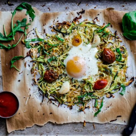 Zoodle Pizza Bake & Fried Egg