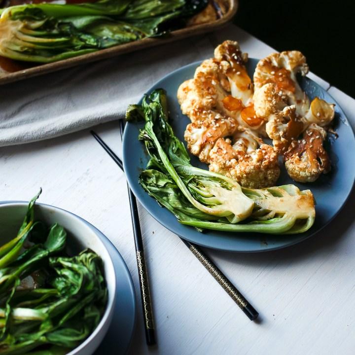 Sesame Roasted Bok Choy & Teriyaki Cauliflower Steaks