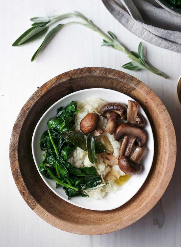 Whipped Cauliflower Mash With Fried Sage & Greens