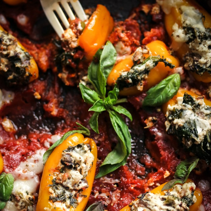 Creamy Kale & Pesto Stuffed Peppers