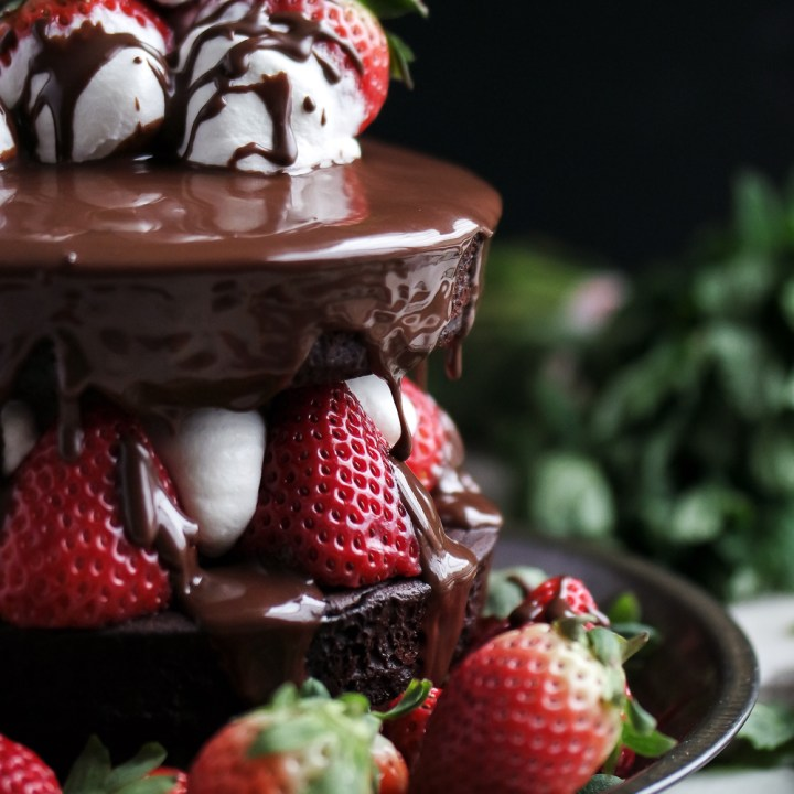 Strawberry Bourbon Whipped Cream Brownie Cake