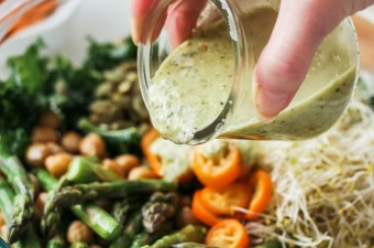 Detox Kale Chickpea Asparagus Salad with Kumquat Pumpkin Seed Pesto