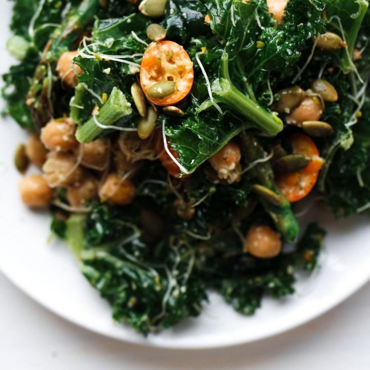 Detox Kale Salad with Kumquat Pumpkin Seed Pesto Dressing