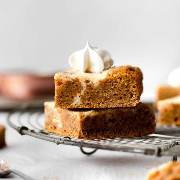 Swirly Cheesecake Pumpkin Bars