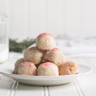 Keto Peppermint Snowball Cookies