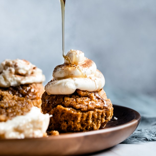 syrup drizzled on muffin