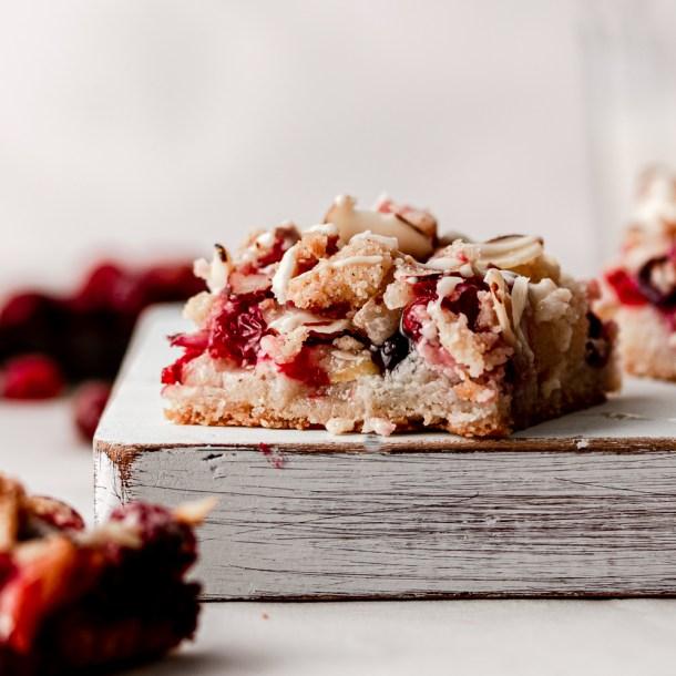Low Carb Cranberry Pear Crumb Bars
