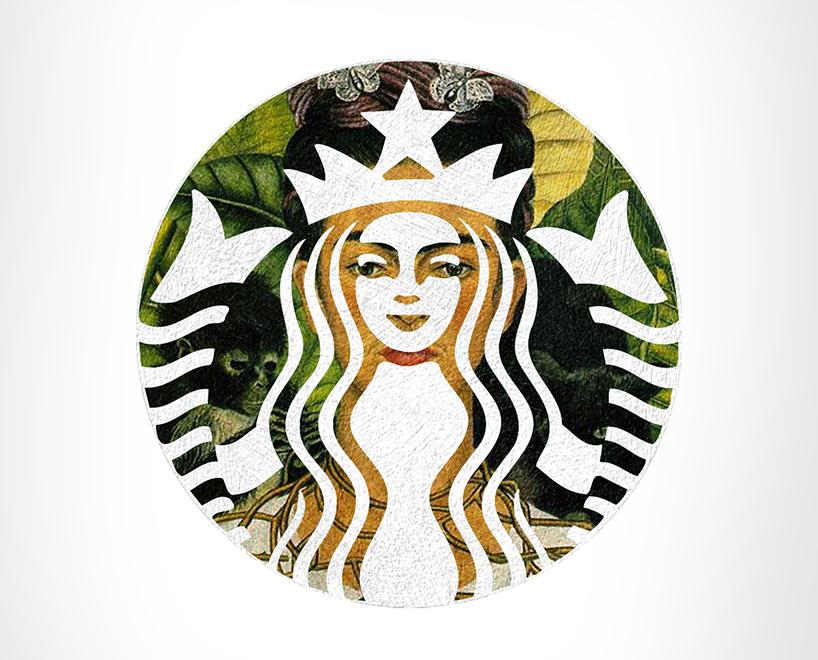 Starbucks + Autorretrato com Colar de Espinhos e Beija-Flor, por Frida Kahlo