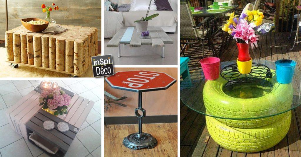 une table basse avec des materiaux de
