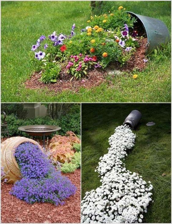 deco jardin originale avec des fleurs