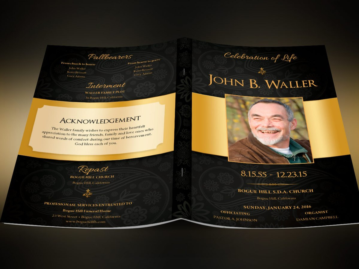 Black Gold Dignity Funeral Program Publisher Templates