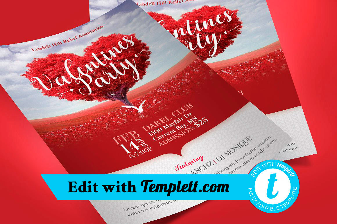Tree Heart Valentines Party Flyer Templett