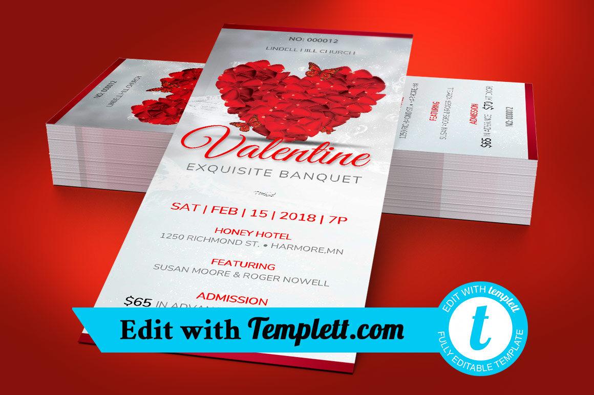 Petals Valentines Banquet Ticket Templett