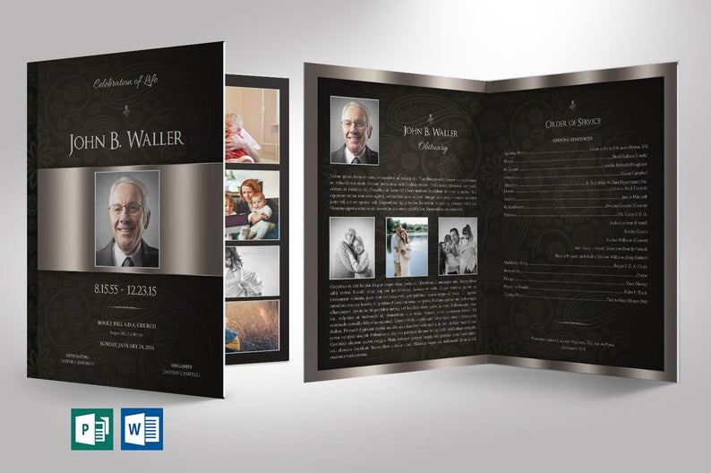 Black Silver Funeral Program Word Publisher
