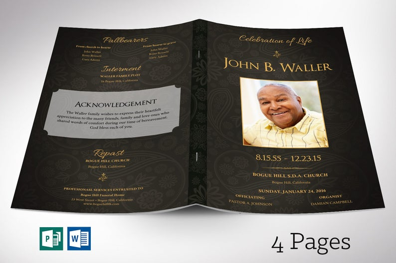 Black Gold Funeral Program Word Publisher