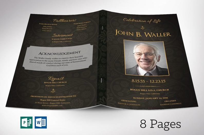 Black gold Funeral Program Word