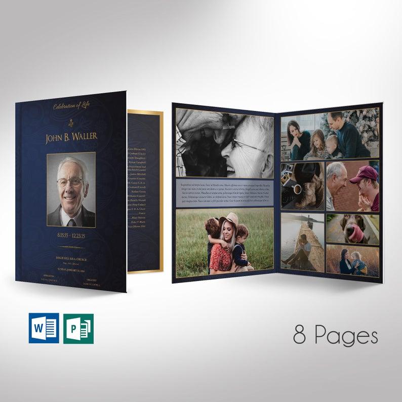Blue Gold Funeral Program Word Publisher