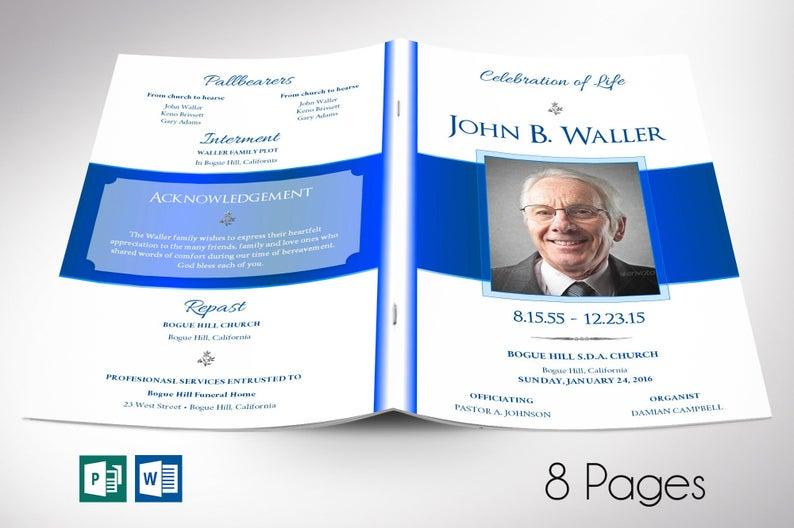 Blue Funeral Program