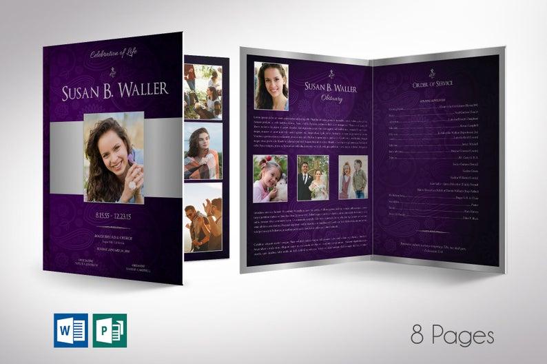 Purple Silver Funeral Program Word