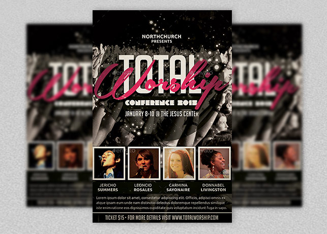 total worship and gospel night flyer template