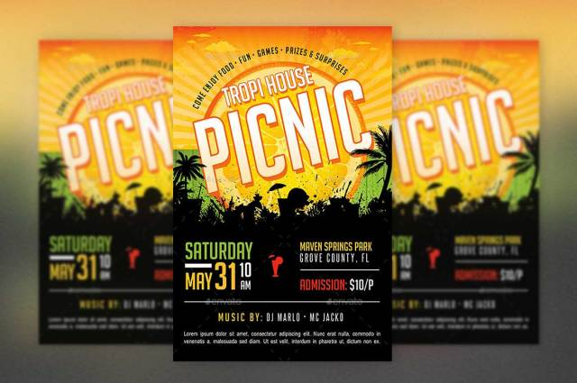 Picnic Flyer Template  Free Download
