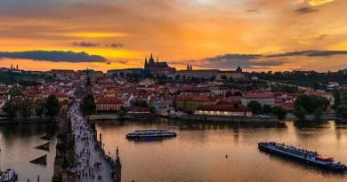 Prague Bridge Sunset River Boat