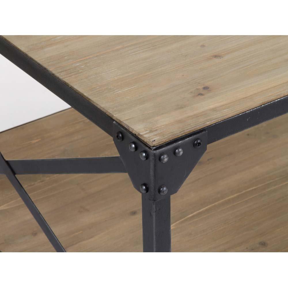 table basse rectangulaire en acier et bois style industriel 130 x 80 cm