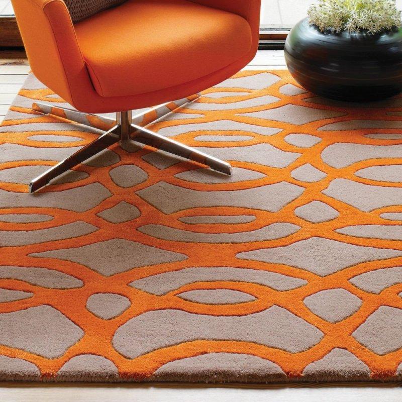 tapis design orange et taupe en laine par joseph lebon