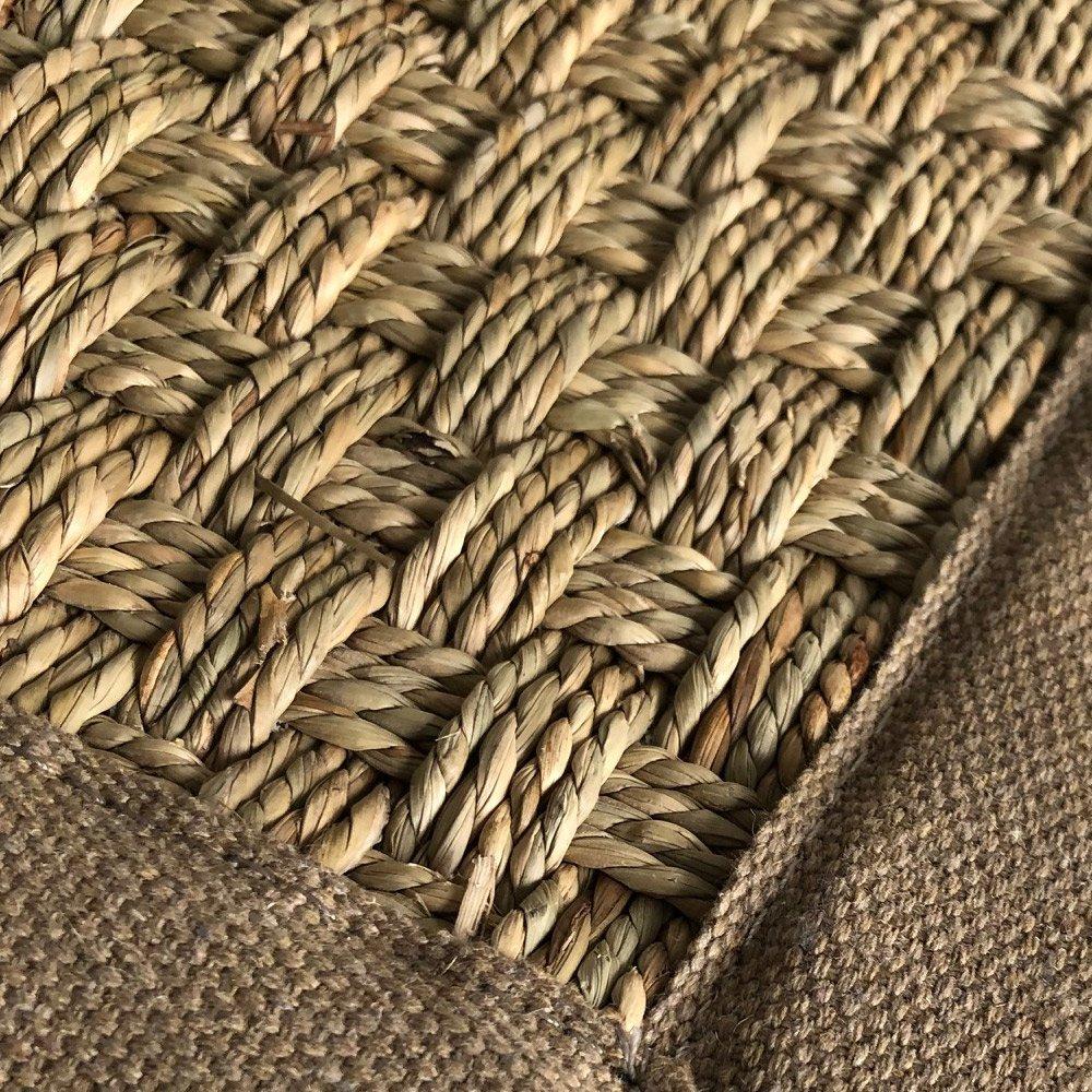 tapis sur mesure en jonc de mer naturel finition gansee