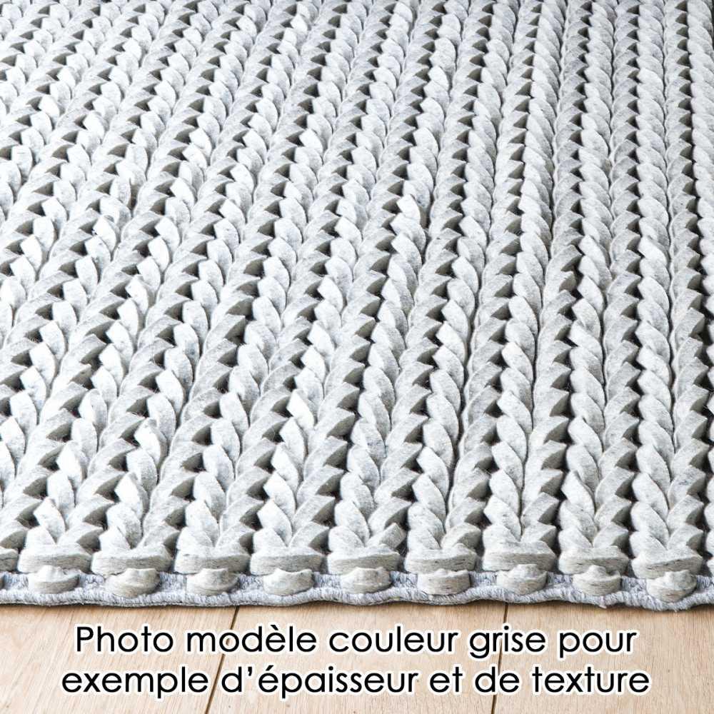 tapis design tresse uni taupe en laine