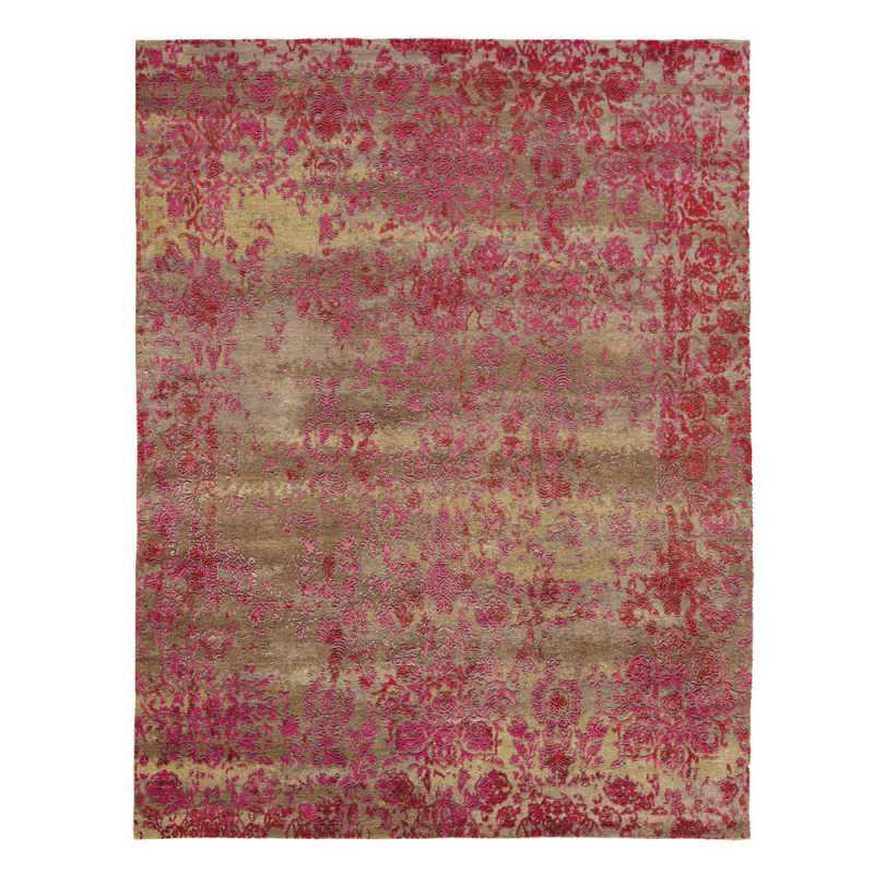 tapis prestige en relief rouge framboise et beige en laine et soie de bambou heritage par angelo