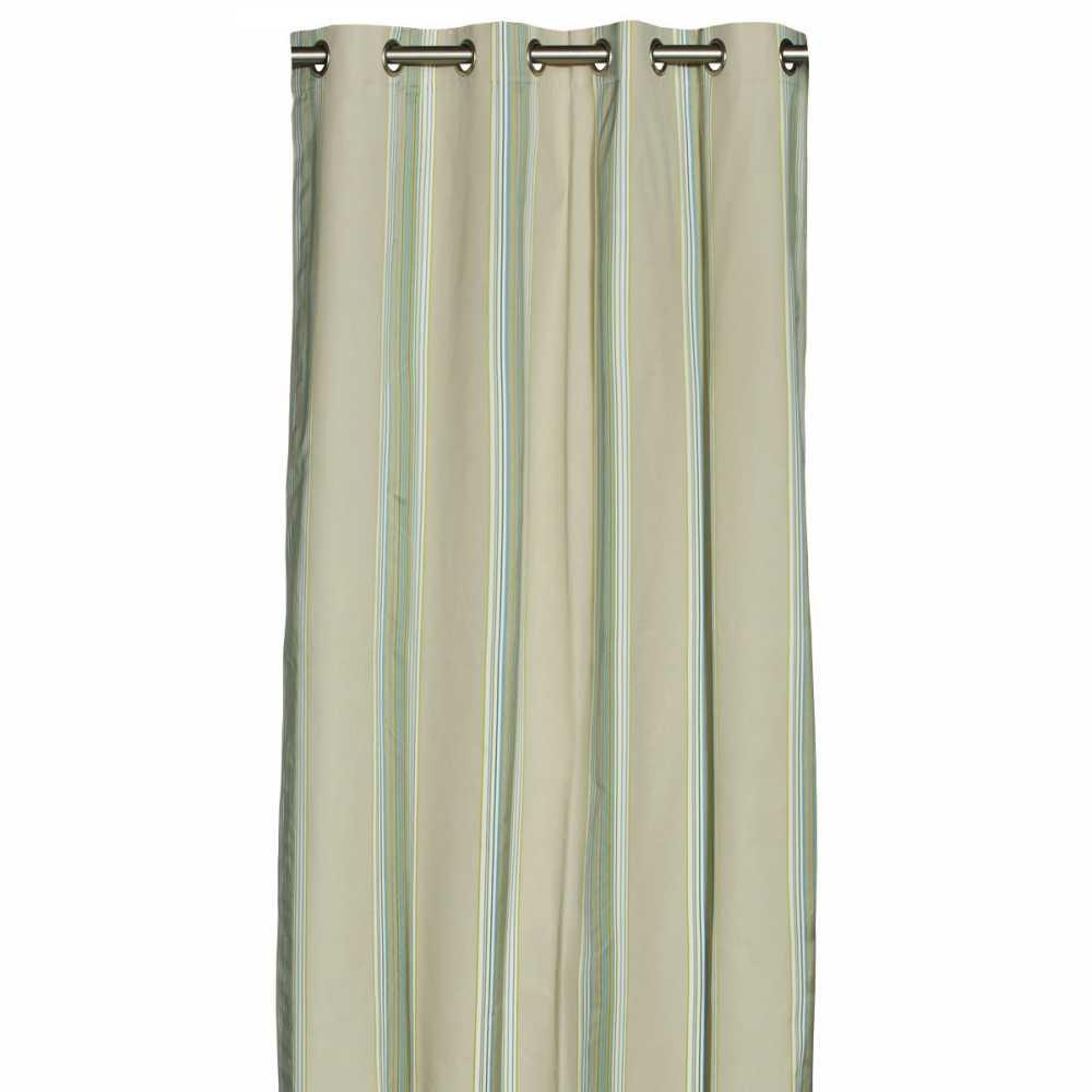 rideau beige de luxe raye vertical a œillets 140 x 270 cm