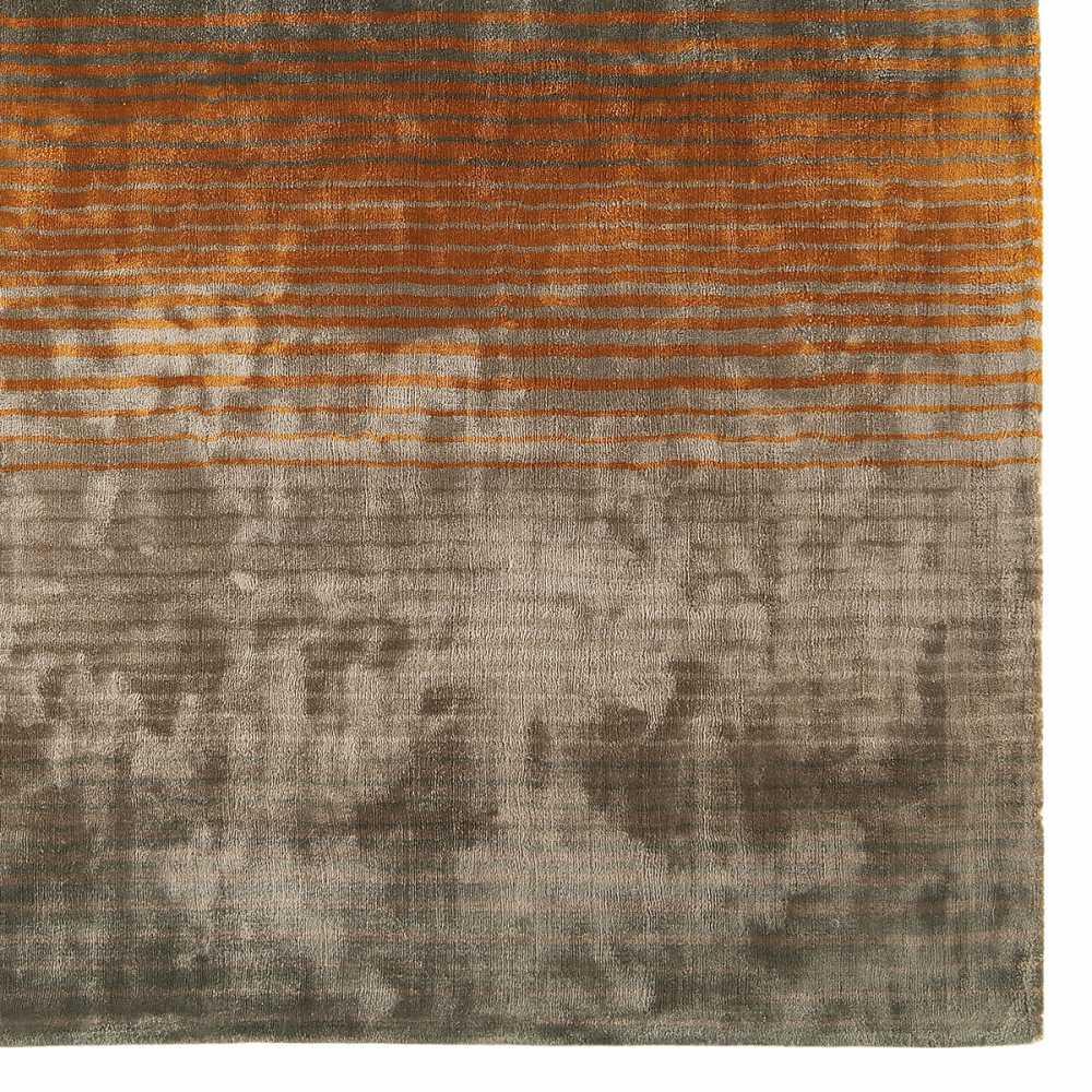 tapis design gris taupe et orange en viscose doux