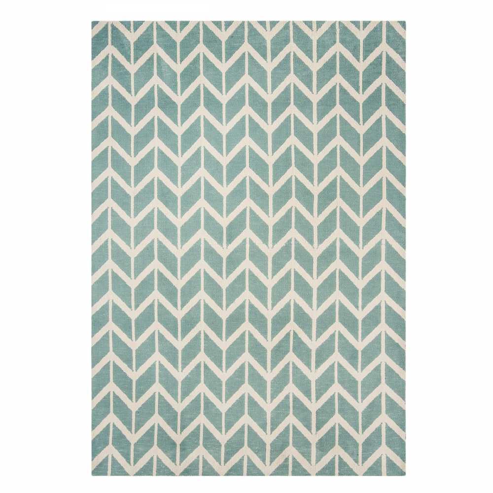 tapis art deco bleu et blanc a motifs geometriques